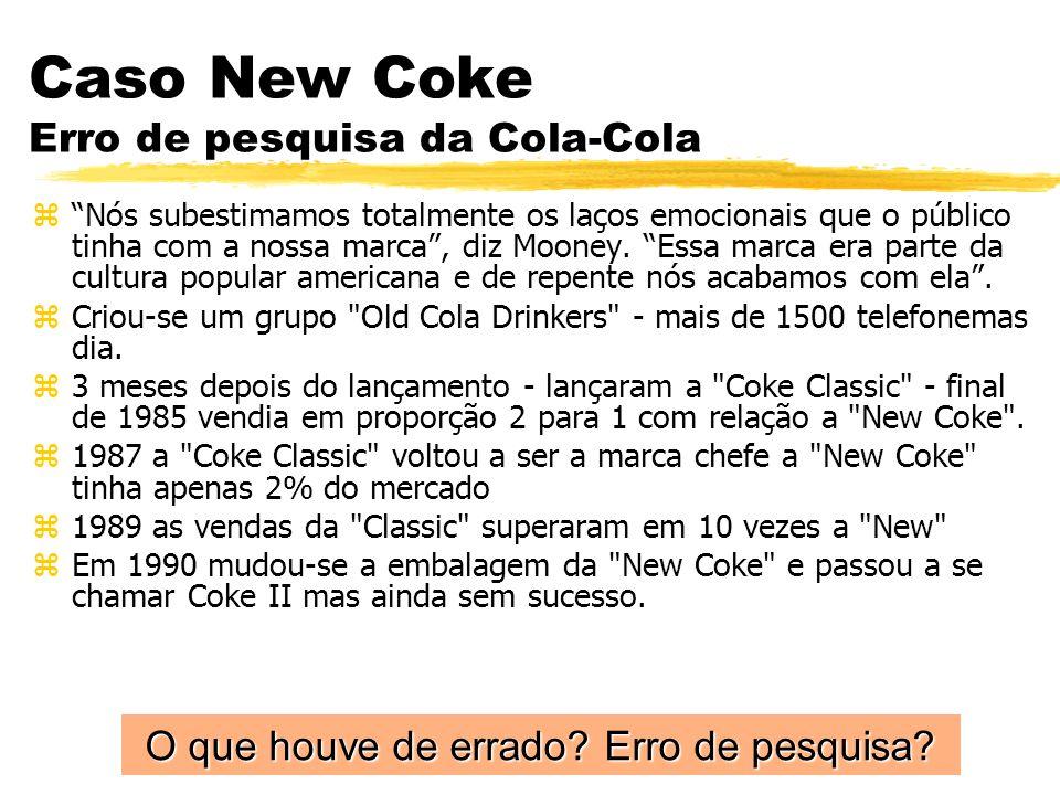 Caso New Coke Erro de pesquisa da Cola-Cola zNós subestimamos totalmente os laços emocionais que o público tinha com a nossa marca, diz Mooney. Essa m