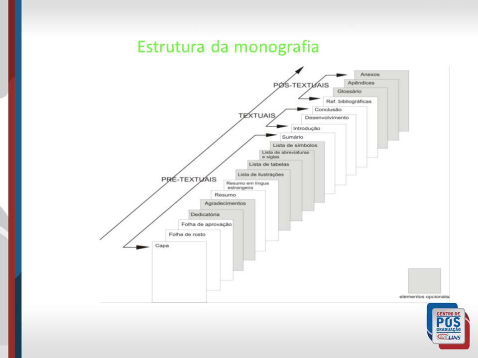 Elementos Pré-textuais – Capa – Folha de rosto – Folha de aprovação – Dedicatória (opcional) – Agradecimentos (opcional) – Resumo – Abstract (resumo em língua estrangeira) – Lista de ilustrações (opcional) – Lista de tabelas (opcional) – Lista de abreviaturas e siglas (opcional) – Lista de símbolos (opcional) – Sumário