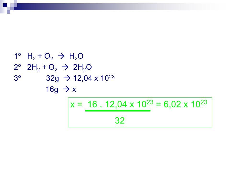 1º H 2 + O 2 H 2 O 2º 2H 2 + O 2 2H 2 O 3º 32g 12,04 x 10 23 16g x x = 16. 12,04 x 10 23 = 6,02 x 10 23 32