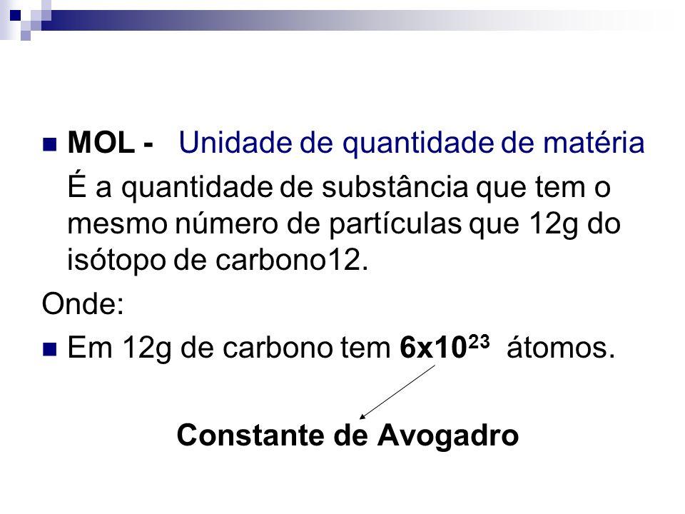 MOL - Unidade de quantidade de matéria É a quantidade de substância que tem o mesmo número de partículas que 12g do isótopo de carbono12. Onde: Em 12g