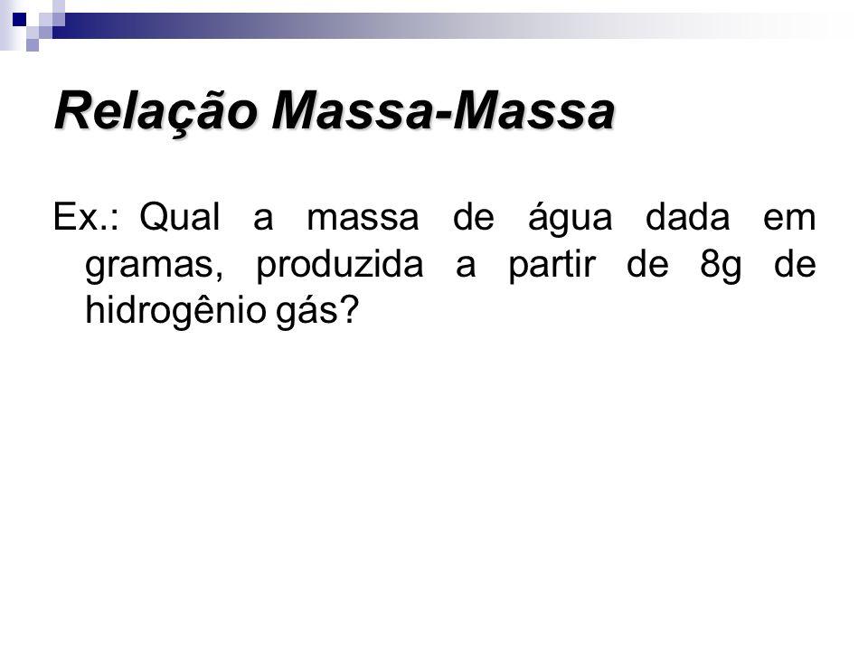 Ex.: Qual a massa de água dada em gramas, produzida a partir de 8g de hidrogênio gás? Relação Massa-Massa