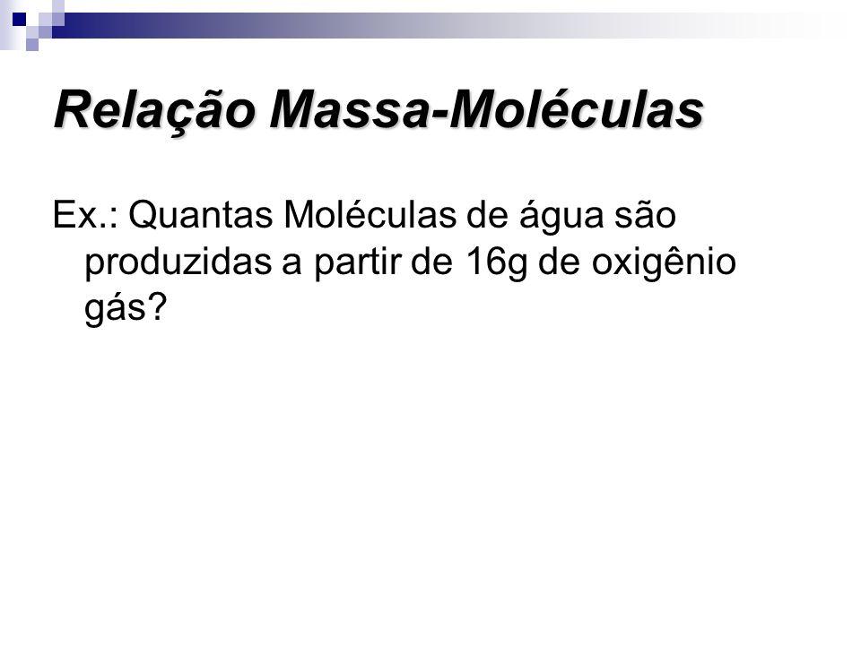 Ex.: Quantas Moléculas de água são produzidas a partir de 16g de oxigênio gás? Relação Massa-Moléculas