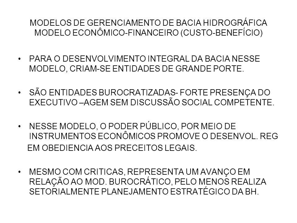 MODELOS DE GERENCIAMENTO DE BACIA HIDROGRÁFICA MODELO ECONÔMICO-FINANCEIRO (CUSTO-BENEFÍCIO) PARA O DESENVOLVIMENTO INTEGRAL DA BACIA NESSE MODELO, CR