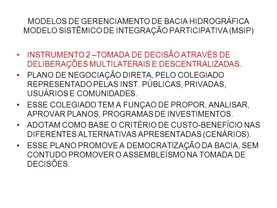MODELOS DE GERENCIAMENTO DE BACIA HIDROGRÁFICA MODELO SISTÊMICO DE INTEGRAÇÃO PARTICIPATIVA (MSIP) INSTRUMENTO 2 –TOMADA DE DECISÃO ATRAVÉS DE DELIBER
