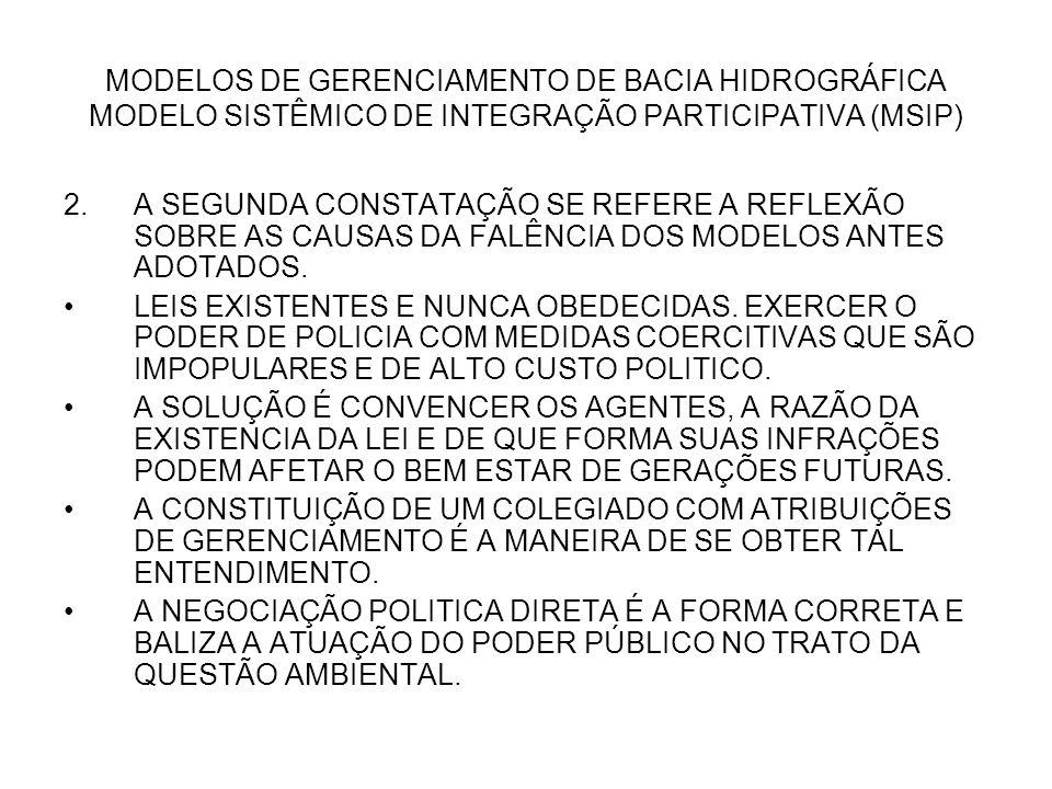 MODELOS DE GERENCIAMENTO DE BACIA HIDROGRÁFICA MODELO SISTÊMICO DE INTEGRAÇÃO PARTICIPATIVA (MSIP) 2.A SEGUNDA CONSTATAÇÃO SE REFERE A REFLEXÃO SOBRE