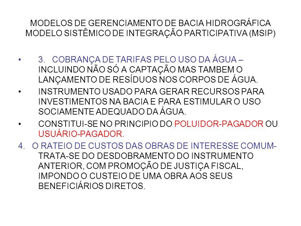 MODELOS DE GERENCIAMENTO DE BACIA HIDROGRÁFICA MODELO SISTÊMICO DE INTEGRAÇÃO PARTICIPATIVA (MSIP) 3. COBRANÇA DE TARIFAS PELO USO DA ÁGUA – INCLUINDO