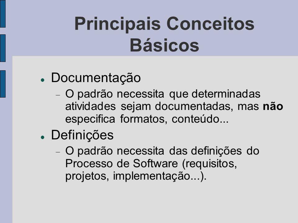 Principais Conceitos Básicos Documentação O padrão necessita que determinadas atividades sejam documentadas, mas não especifica formatos, conteúdo...