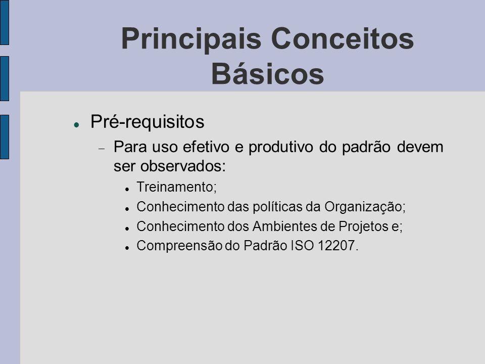 Principais Conceitos Básicos Pré-requisitos Para uso efetivo e produtivo do padrão devem ser observados: Treinamento; Conhecimento das políticas da Or