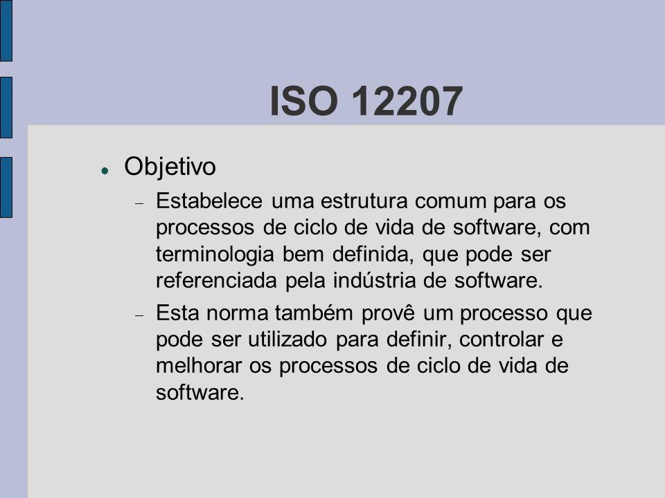 ISO 12207 Objetivo Estabelece uma estrutura comum para os processos de ciclo de vida de software, com terminologia bem definida, que pode ser referenc