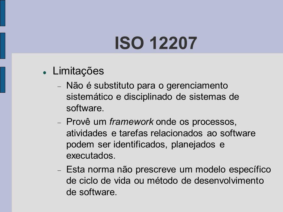 ISO 12207 Limitações Não é substituto para o gerenciamento sistemático e disciplinado de sistemas de software. Provê um framework onde os processos, a