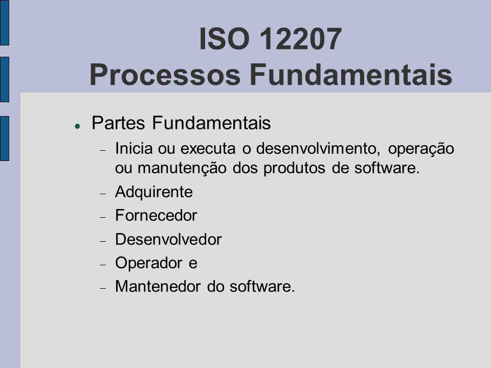 ISO 12207 Processos Fundamentais Partes Fundamentais Inicia ou executa o desenvolvimento, operação ou manutenção dos produtos de software. Adquirente
