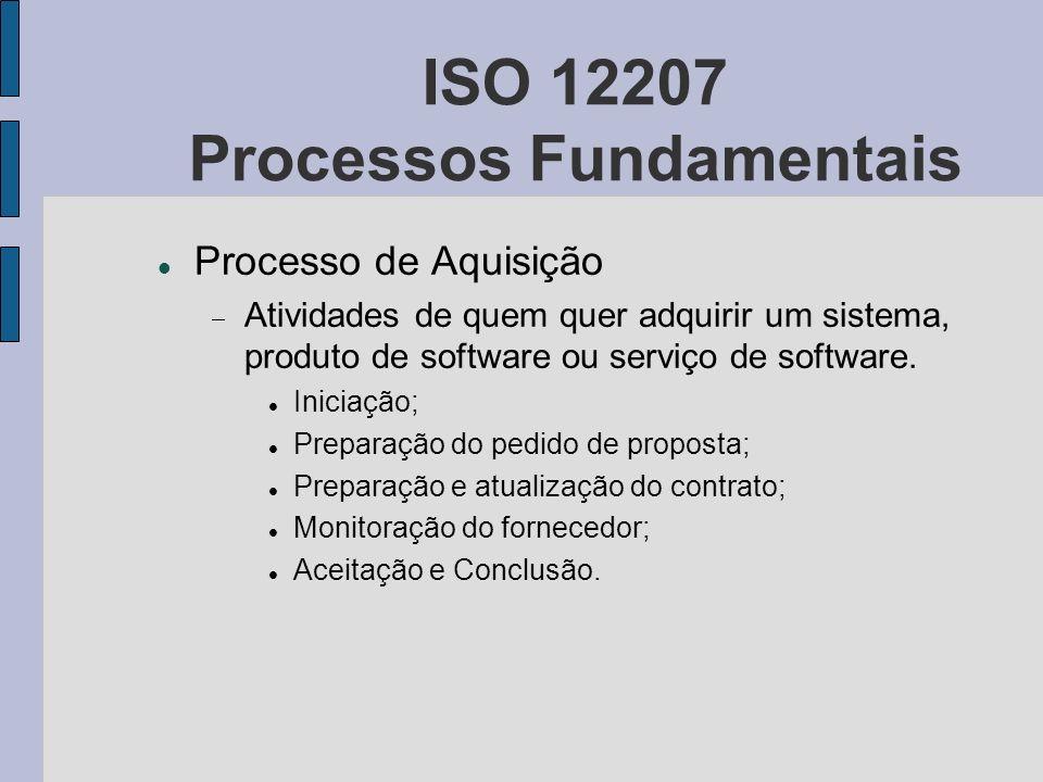 ISO 12207 Processos Fundamentais Processo de Aquisição Atividades de quem quer adquirir um sistema, produto de software ou serviço de software. Inicia