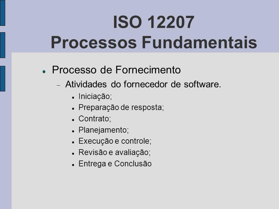 ISO 12207 Processos Fundamentais Processo de Fornecimento Atividades do fornecedor de software. Iniciação; Preparação de resposta; Contrato; Planejame