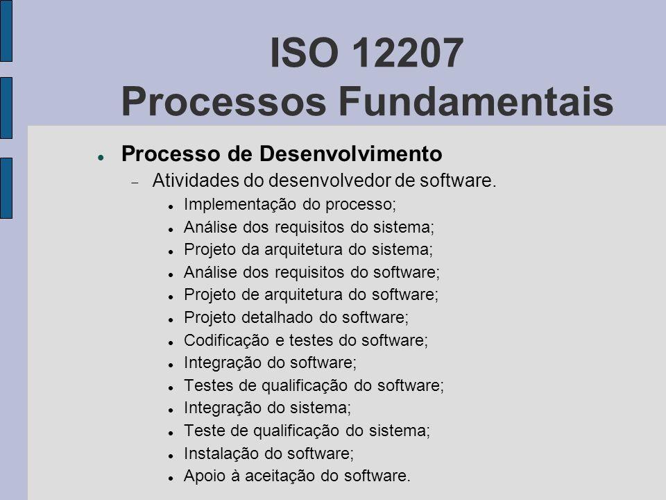 ISO 12207 Processos Fundamentais Processo de Desenvolvimento Atividades do desenvolvedor de software. Implementação do processo; Análise dos requisito