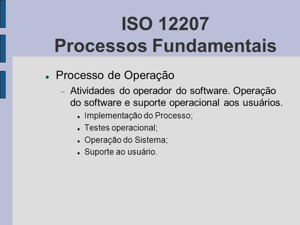 ISO 12207 Processos Fundamentais Processo de Operação Atividades do operador do software. Operação do software e suporte operacional aos usuários. Imp
