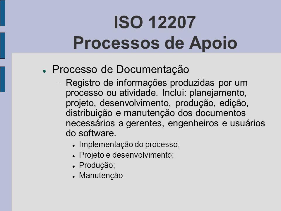ISO 12207 Processos de Apoio Processo de Documentação Registro de informações produzidas por um processo ou atividade. Inclui: planejamento, projeto,