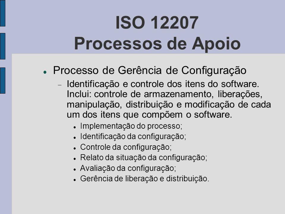 ISO 12207 Processos de Apoio Processo de Gerência de Configuração Identificação e controle dos itens do software. Inclui: controle de armazenamento, l