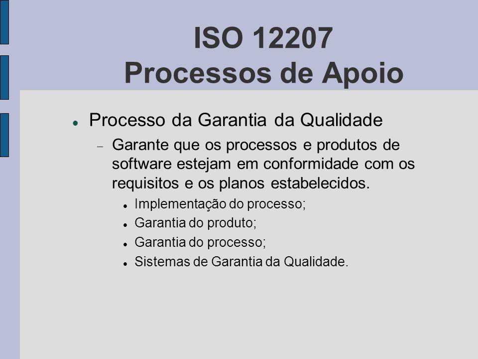 ISO 12207 Processos de Apoio Processo da Garantia da Qualidade Garante que os processos e produtos de software estejam em conformidade com os requisit
