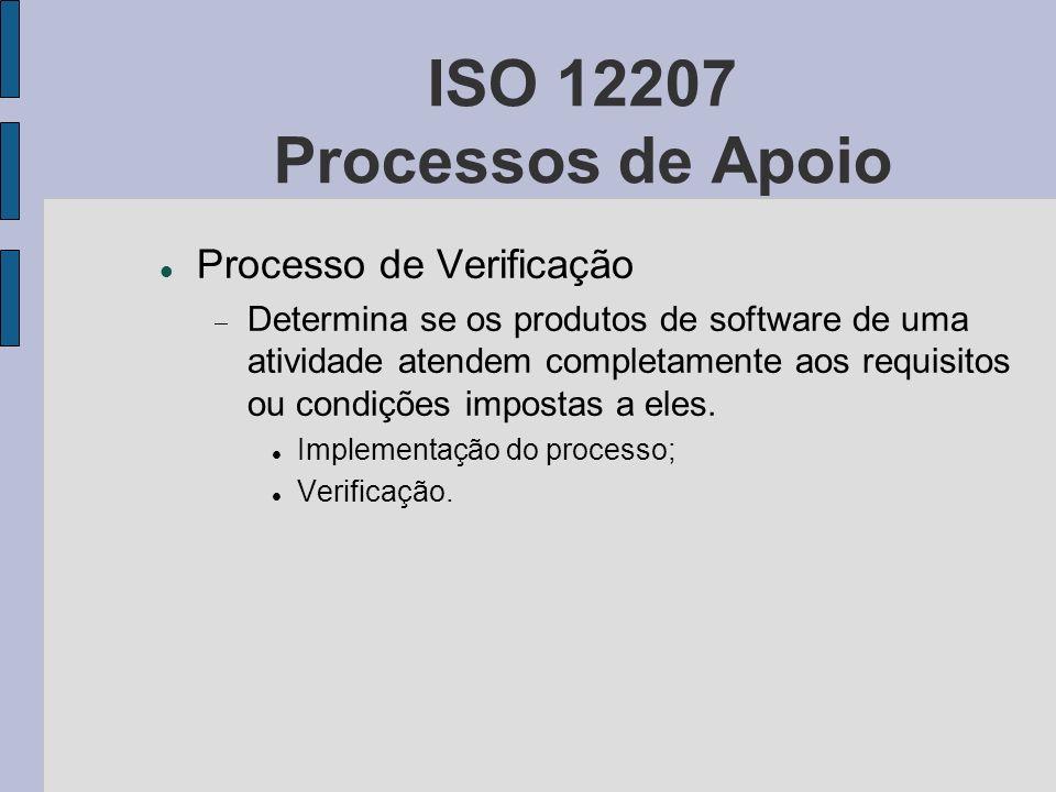 ISO 12207 Processos de Apoio Processo de Verificação Determina se os produtos de software de uma atividade atendem completamente aos requisitos ou con