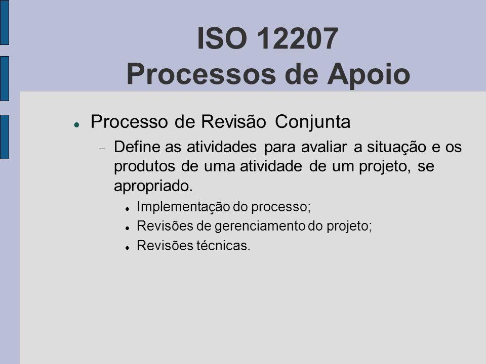 ISO 12207 Processos de Apoio Processo de Revisão Conjunta Define as atividades para avaliar a situação e os produtos de uma atividade de um projeto, s