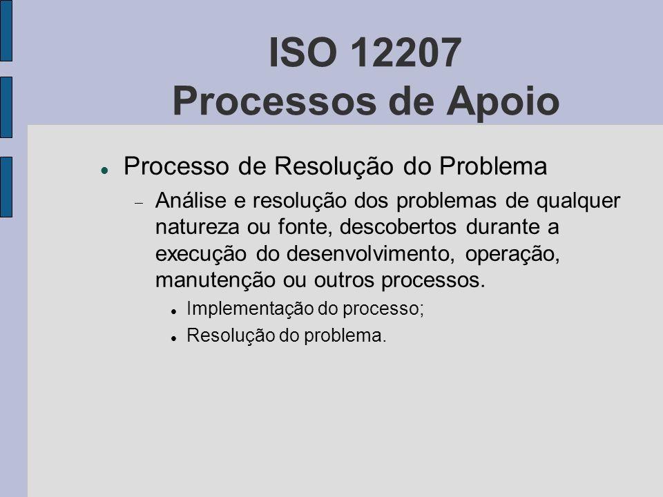 ISO 12207 Processos de Apoio Processo de Resolução do Problema Análise e resolução dos problemas de qualquer natureza ou fonte, descobertos durante a