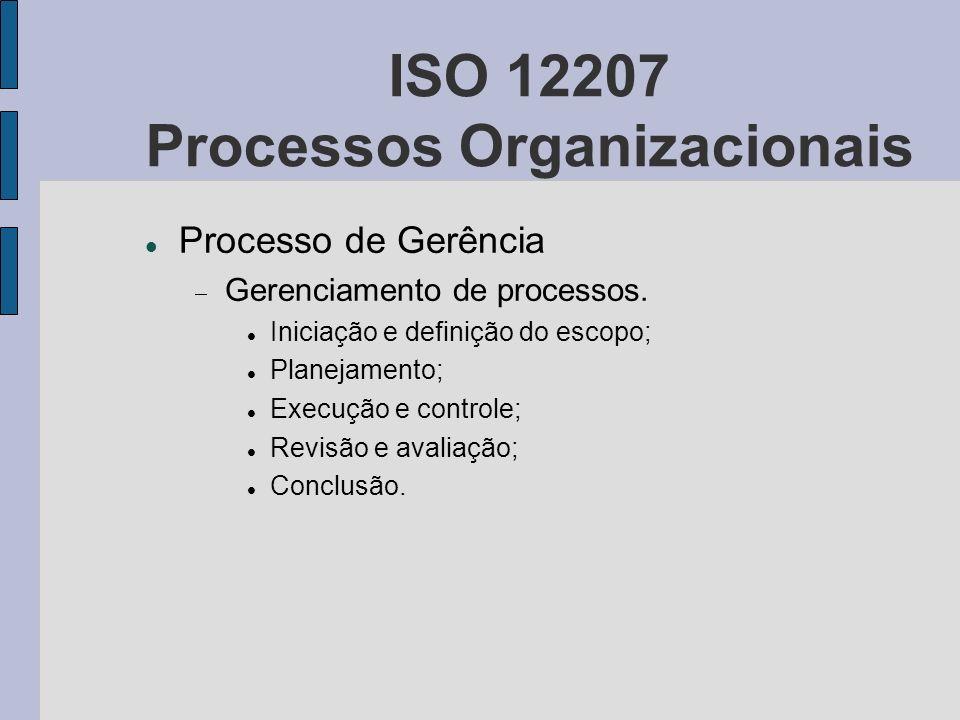 ISO 12207 Processos Organizacionais Processo de Gerência Gerenciamento de processos. Iniciação e definição do escopo; Planejamento; Execução e control