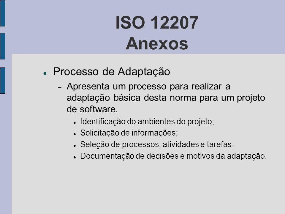 ISO 12207 Anexos Processo de Adaptação Apresenta um processo para realizar a adaptação básica desta norma para um projeto de software. Identificação d
