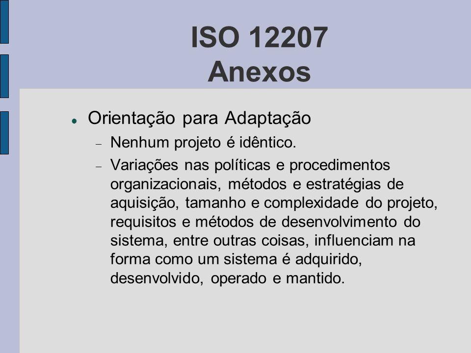 ISO 12207 Anexos Orientação para Adaptação Nenhum projeto é idêntico. Variações nas políticas e procedimentos organizacionais, métodos e estratégias d