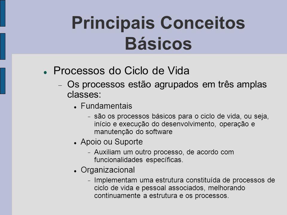 Principais Conceitos Básicos Estrutura dos Processos do Ciclo de Vida Cada processo é definido de acordo com seu conjunto de atividades e, estas, de acordo com seu conjunto de tarefas relacionadas.
