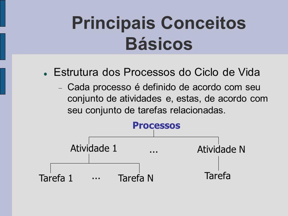 Principais Conceitos Básicos Estrutura dos Processos do Ciclo de Vida Cada processo é definido de acordo com seu conjunto de atividades e, estas, de a