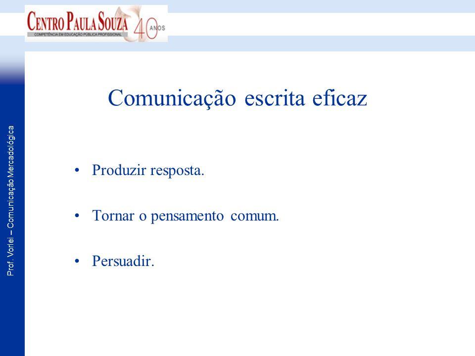Prof. Vorlei – Comunicação Mercadológica Comunicação escrita eficaz Produzir resposta. Tornar o pensamento comum. Persuadir.