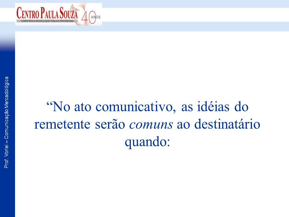 Prof. Vorlei – Comunicação Mercadológica No ato comunicativo, as idéias do remetente serão comuns ao destinatário quando: