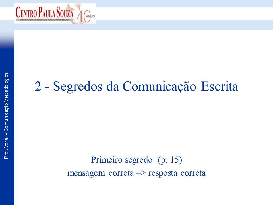 Prof. Vorlei – Comunicação Mercadológica 2 - Segredos da Comunicação Escrita Primeiro segredo (p. 15) mensagem correta => resposta correta