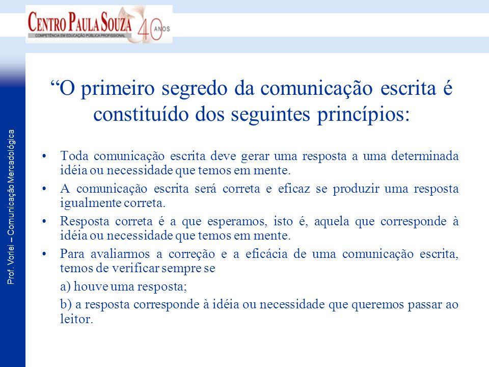 Prof. Vorlei – Comunicação Mercadológica O primeiro segredo da comunicação escrita é constituído dos seguintes princípios: Toda comunicação escrita de