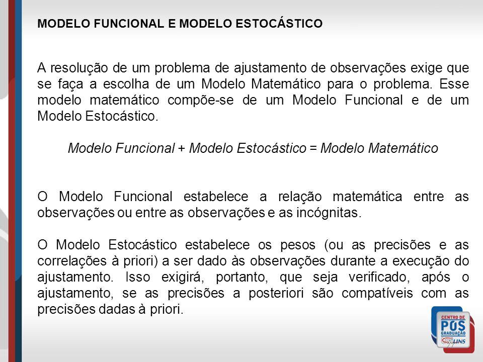 27 MODELO FUNCIONAL E MODELO ESTOCÁSTICO A resolução de um problema de ajustamento de observações exige que se faça a escolha de um Modelo Matemático