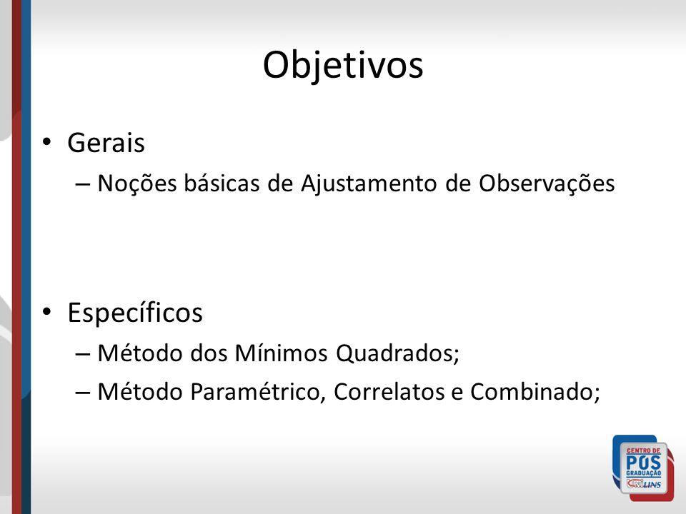 Objetivos Gerais – Noções básicas de Ajustamento de Observações Específicos – Método dos Mínimos Quadrados; – Método Paramétrico, Correlatos e Combina