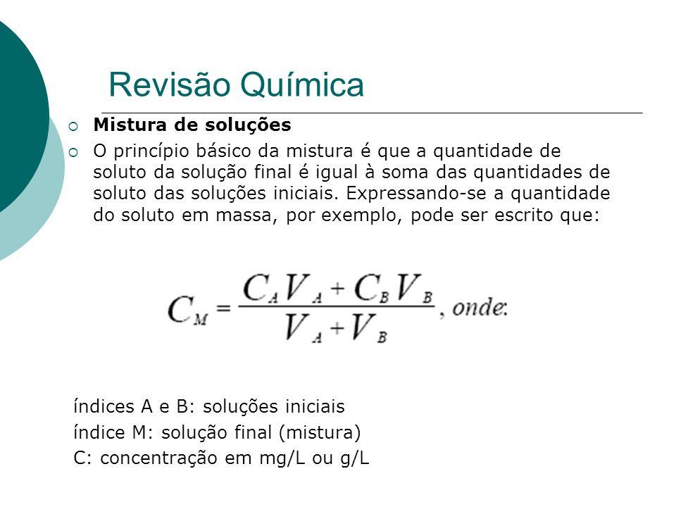 Mistura de soluções O princípio básico da mistura é que a quantidade de soluto da solução final é igual à soma das quantidades de soluto das soluções iniciais.