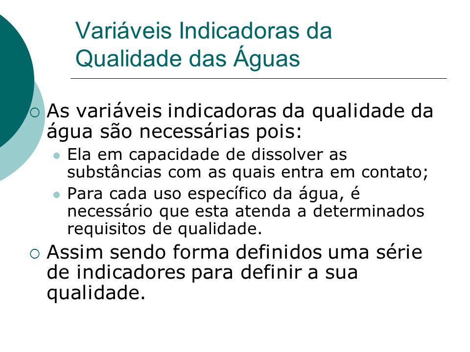 Variáveis Indicadoras da Qualidade das Águas As variáveis indicadoras da qualidade da água são necessárias pois: Ela em capacidade de dissolver as sub