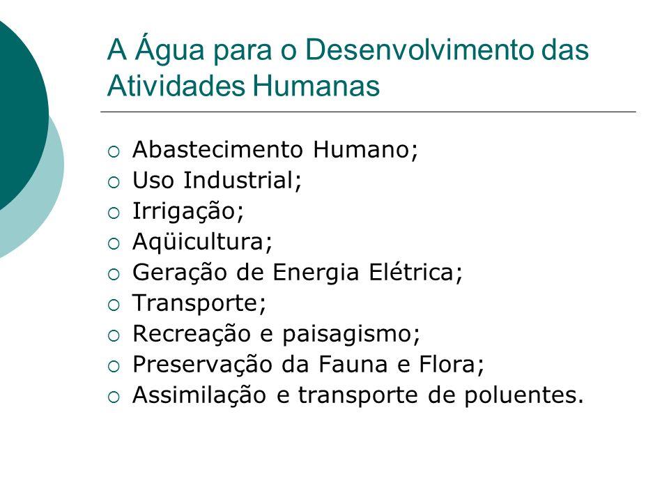 A Água para o Desenvolvimento das Atividades Humanas Abastecimento Humano; Uso Industrial; Irrigação; Aqüicultura; Geração de Energia Elétrica; Transporte; Recreação e paisagismo; Preservação da Fauna e Flora; Assimilação e transporte de poluentes.