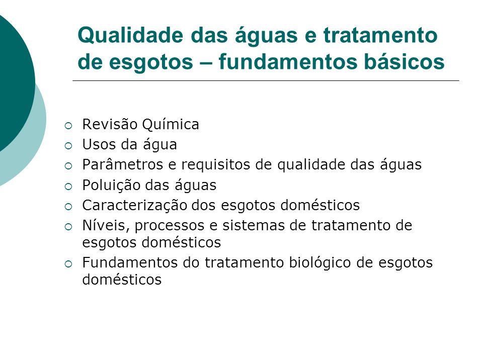 Qualidade das águas e tratamento de esgotos – fundamentos básicos Revisão Química Usos da água Parâmetros e requisitos de qualidade das águas Poluição