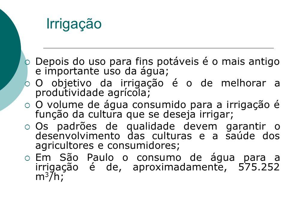 Irrigação Depois do uso para fins potáveis é o mais antigo e importante uso da água; O objetivo da irrigação é o de melhorar a produtividade agrícola; O volume de água consumido para a irrigação é função da cultura que se deseja irrigar; Os padrões de qualidade devem garantir o desenvolvimento das culturas e a saúde dos agricultores e consumidores; Em São Paulo o consumo de água para a irrigação é de, aproximadamente, 575.252 m 3 /h;