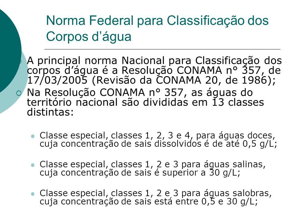 Norma Federal para Classificação dos Corpos dágua A principal norma Nacional para Classificação dos corpos dágua é a Resolução CONAMA n° 357, de 17/03