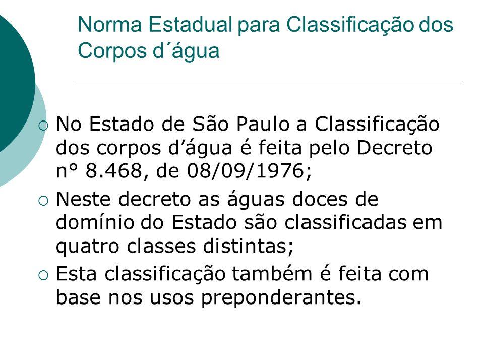 Norma Estadual para Classificação dos Corpos d´água No Estado de São Paulo a Classificação dos corpos dágua é feita pelo Decreto n° 8.468, de 08/09/19