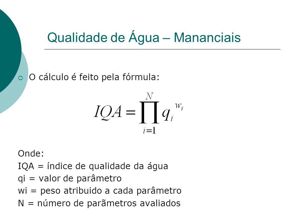 Qualidade de Água – Mananciais O cálculo é feito pela fórmula: Onde: IQA = índice de qualidade da água qi = valor de parâmetro wi = peso atribuido a cada parâmetro N = número de parãmetros avaliados