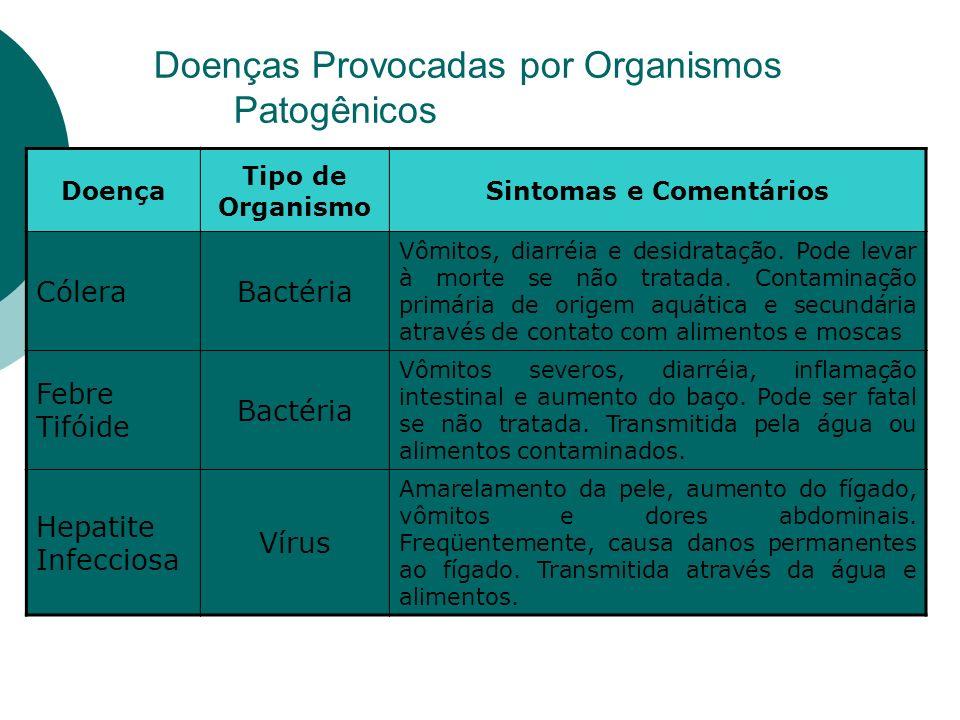 Doenças Provocadas por Organismos Patogênicos Doença Tipo de Organismo Sintomas e Comentários CóleraBactéria Vômitos, diarréia e desidratação.