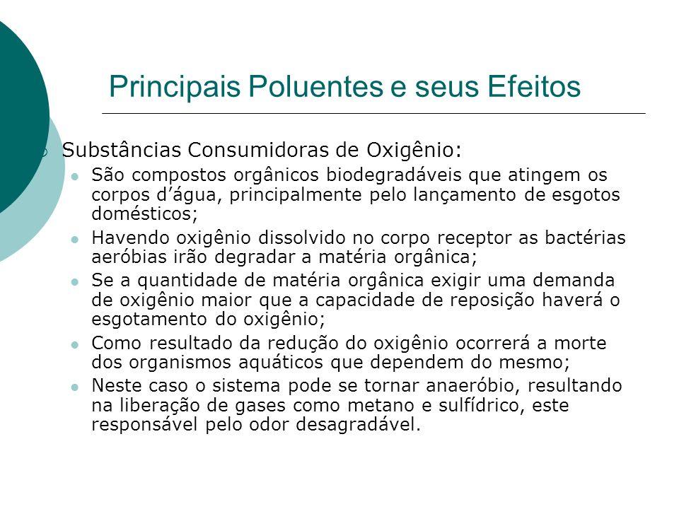 Principais Poluentes e seus Efeitos Substâncias Consumidoras de Oxigênio: São compostos orgânicos biodegradáveis que atingem os corpos dágua, principa