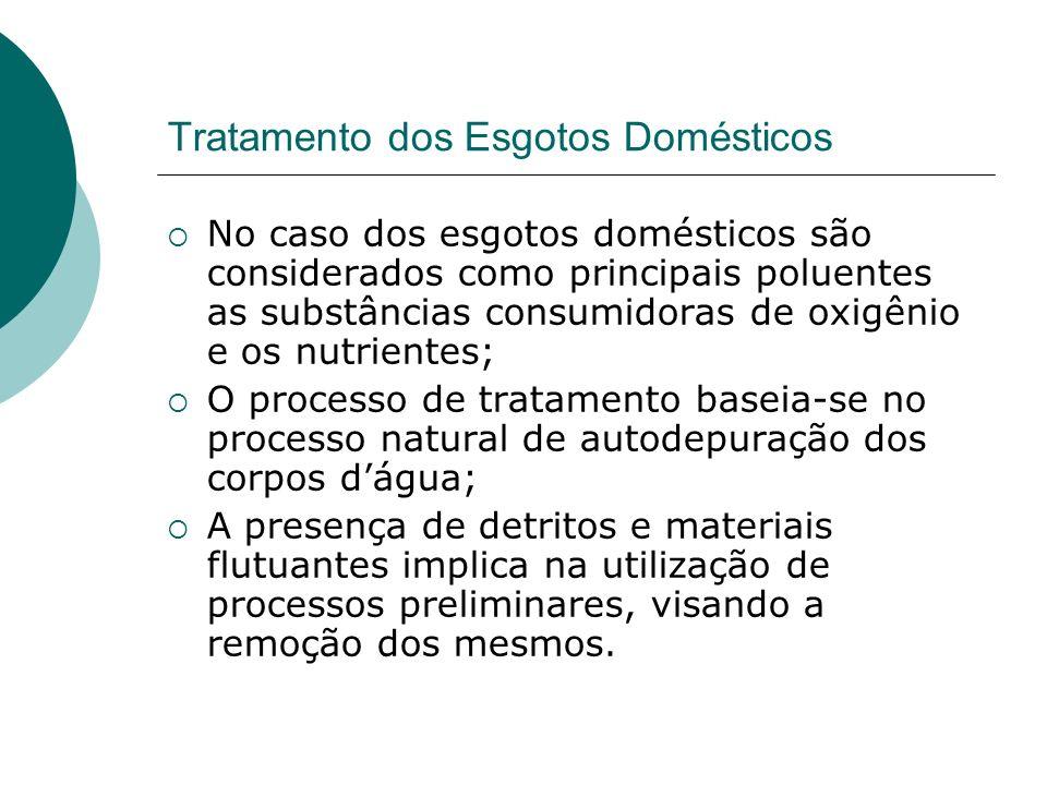 Tratamento dos Esgotos Domésticos No caso dos esgotos domésticos são considerados como principais poluentes as substâncias consumidoras de oxigênio e