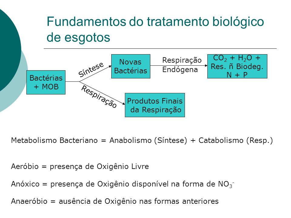 Fundamentos do tratamento biológico de esgotos Bactérias + MOB Novas Bactérias CO 2 + H 2 O + Res. ñ Biodeg. N + P Síntese Respiração Produtos Finais