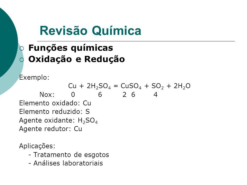 Revisão Química Funções químicas Oxidação e Redução Exemplo: Cu + 2H 2 SO 4 = CuSO 4 + SO 2 + 2H 2 O Nox: 0 6 2 6 4 Elemento oxidado: Cu Elemento reduzido: S Agente oxidante: H 2 SO 4 Agente redutor: Cu Aplicações: - Tratamento de esgotos - Análises laboratoriais