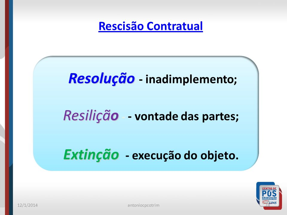 12/1/2014antoniocpcotrim24 Rescisão Contratual Resolução Resolução - inadimplemento; Resilição Resilição - - vontade das partes; Extinção Extinção - e